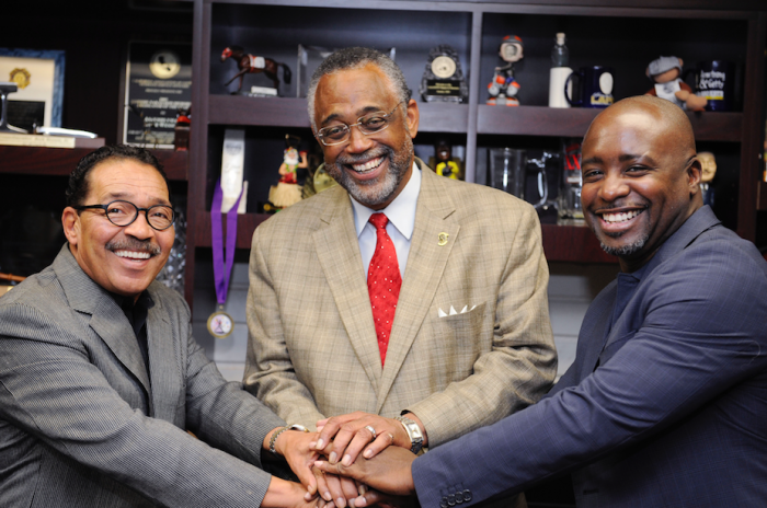 (L-R) Council President Herb Wesson, Council member Curren Price,  and Council member Marqueece Harris-Dawson. (Valerie Goodloe photo)