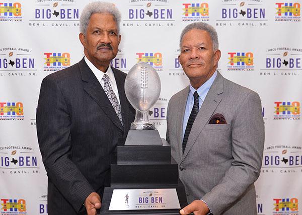 Ben L. Cavil, Jr. and William Campbell Cavil, sons of Ben L. Cavil, Sr., hold The Big Ben Trophy. (Kenyatta Cavil/HBCU-ARC)
