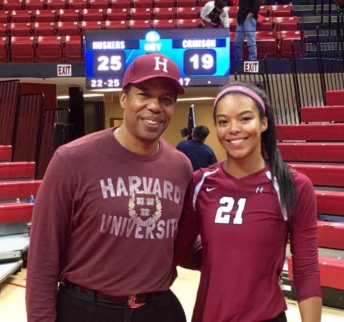Cornelius poses with her father Tony at the NCAA Tournament (Courtesy of Tony Cornelius)