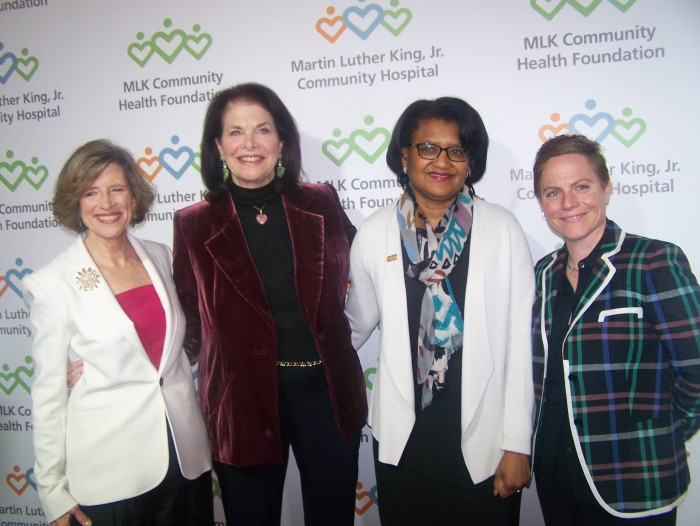 """Dylan Sublett, president of the MLK Community Health Foundation; Sherry Lansing, honorary co-chair; Dr. Elaine Batchor, MLKCH CEO; and Chris Nee, creator and producer of Disney Channel's """"Doc McStuffins"""