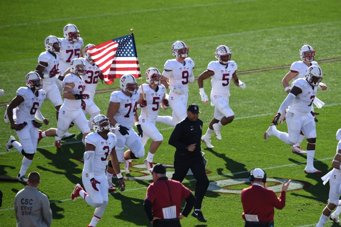 Head Coach David Shaw leads Stanford Players onto field at 102nd Rose Bowl Game