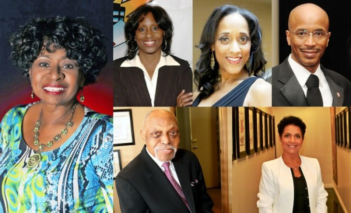 (From Left):Cora-Jackson Fossett, (Top Row):Theresa Price, Karla Gordy Bristol &Nolan Rollins (Bottom Row):Dr. Cecil L. Murray &Pamela A. Bakewell Graphic Collage By Brian W. Carter