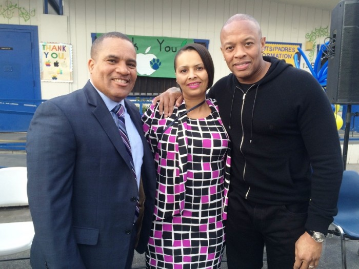 Superintendent Darin Brawley and School Board President Satra Zurita welcome Dr. Dre, to Jefferson Elementary School's iPad rollout event, Friday, January 15.  Courtesy Photo