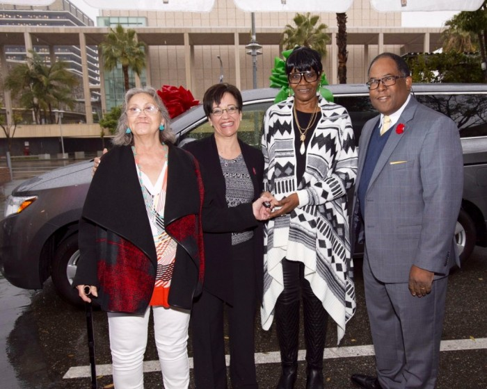 Supervisor Mark Ridley-Thomas donates a van to the Downtown Women's Center in Skid Row. The keys are received by Francine Andrade, Anne Miskey and Teressa Percell. Ms. Miskey is the chief executive at DWC, while Ms. Andrade and Ms. Percell are formerly homeless women who have found housing through the DWC.