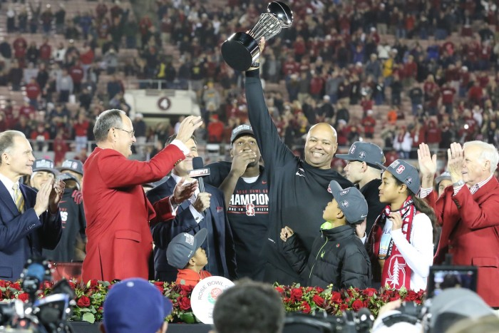 Tournament of Roses President Mike Matthiessen Presents Championship Trophy to Stanford Head Coach David Shaw