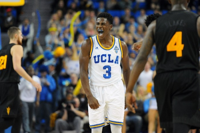 UCLA's Aaron Holiday reacts after making a 3-point basket in the game's final minute to give UCLA the lead against Arizona State in the second half of an NCAA college basketball game in Los Angeles, Saturday, Jan. 9, 2016. (AP Photo)