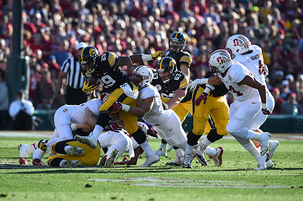Iowa Hawkeyes running back LeShun Daniels Jr. (29) rushing for a tough yards in 1st qtr. during the 102nd Rose Bowl Game Stanford Cardinals vs Iowa Hawkeyes   2016. (Photo by  Jevone Moore/fi360 News)