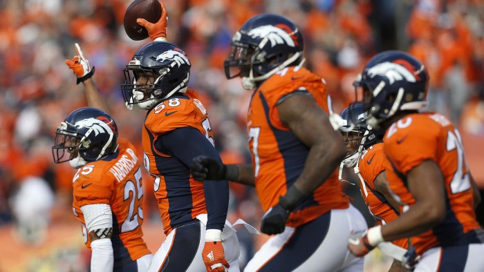 Von Miller Celebrates Interception.  Photo:  Joe Mahoney/AP
