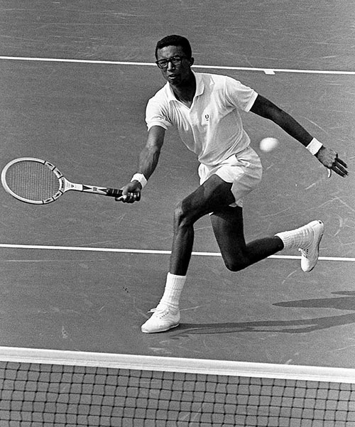 Arthur Ashe Jr., 25-year-old Davis Cup Ace, displays some of the talent that swept him to the first U.S. Open Tennis Championship in New York, Sept. 9, 1968. (AP Photo/File) TEN