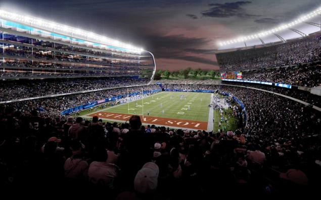 An artist's rendering of a newly proposed NFL stadium in the city of Carson, Calif. The Los Angeles suburb of Carson approved a $1.7 billion NFL stadium Tuesday. (MANICA ARCHITECTURE/AP)