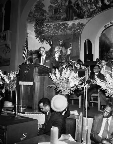 Dr. King, a frequent visitor to Los Angeles, spoke many times at Second Baptist Church (above in 1958) and at Holman United Methodist Church. (photo courtesy of Henry Adams Collection-CSUN)