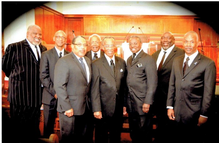 From left are (rear) Minister Tyree Larue; Rev. Dennis Moore; Pastor Robert Arline, Elder Michael Cummings, (front) Pastor Charles Harris, Pastor Reginald Pope, Pastor Robert Taylor and Pastor Terry Wilson.