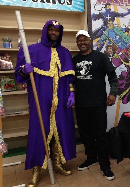 Creator Clint John Johnson (r) poses with a live action version of his character, Matthew Cross: Faith Walker.