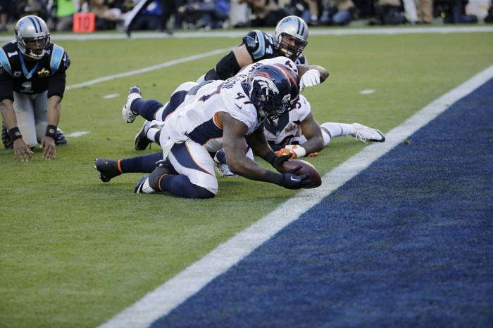 Broncos Defense Recover Fumble & Scores TD!  Photo:  Associated Press