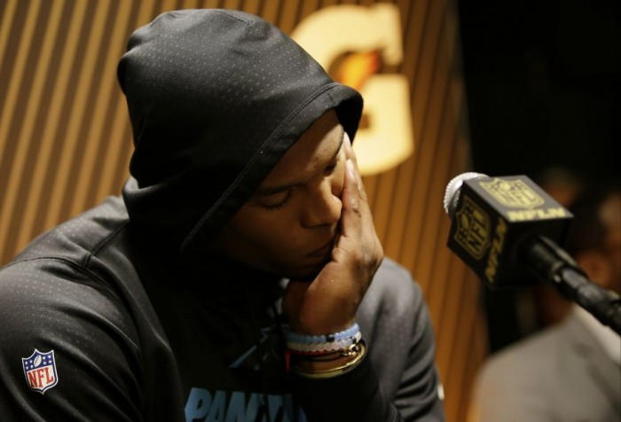 Panther QB Cam Newton at Post-Game Press Conference.  Photo:  Associated Press