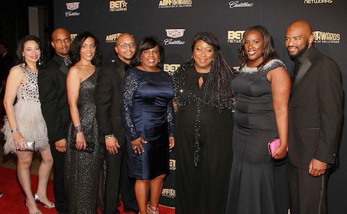 Hilton Worldwide directors and guests pose with The Real's, Loni Love, on the red carpet for the ABFF Awards: Celebration of Hollywood ceremony. Hilton Worldwide's support of the ceremony is part of the brand's 2016 multicultural marketing campaign, Celebrating Our Stories, which celebrates the stories of African Americans. (Photo Credit: Soul Brother)