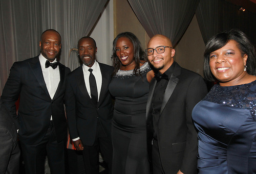 ABFF founder and president, Jeff Friday, ABFF Excellence in the Arts honoree and award-winning actor, Don Cheadle, Hilton Worldwide directors, Andrea Richardson (Resorts and Multicultural marketing), Courtney Eison (Multicultural Sales) and Sonya Toliver Irby (Luxury Brand Sales) during the ABFF Awards: Celebration of Hollywood ceremony pre-reception. (Pictured L to R): INSERT. (Photo Credit: Soul Brother)