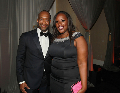 Hilton Worldwide director of resorts and multicultural, Andrea Richardson, and ABFF founder and president, Jeff Friday, during the ABFF Awards: Celebration of Hollywood ceremony pre-reception. . (Photo Credit: Soul Brother)