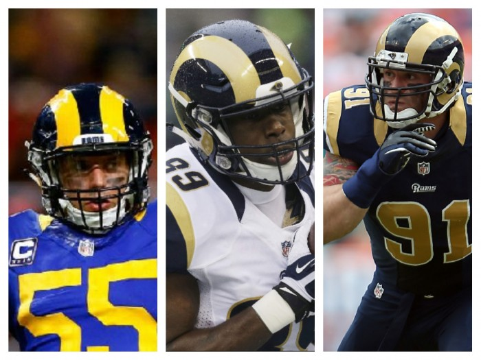 (Left to right) James Laurinaitis, Jared Cook, and Chris Long (AP Photos)