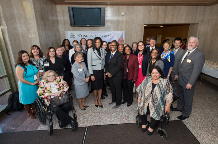 Skye Patrick, Library Director, County of Los Angeles Public Library with County Library staff members who attended Ms. Patrick's swearing ceremony on Tuesday, February 10, 2016 at the Kenneth Hahn Hall of Administration.(Courtesy Photos)