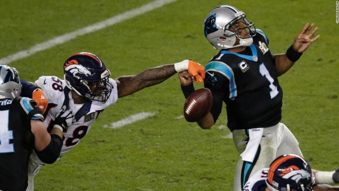 Broncos Linebacker and Super Bowl 50 MVP Strips Panther QB Cam Newton.  Photo:  Associated Press