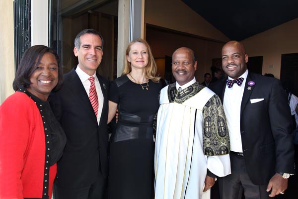 (L-R) Jacquelyn Dupont-Walker, Mayor Eric Garcetti, his wife, Amy Wakeland, Pastor J. Edgar Boyd and State Sen. Isadore Hall at the unveiling of the Richard Allen stamp at First AME Church on Feb. 7. (photo by Clayton Everett/First AME Church)