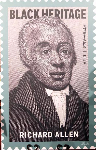 "The stamp art is a portrait of Bishop Richard Allen, a detail from an 1876 print titled ""Bishops of the A.M.E. Church"" from the collection of the Library Company of Philadelphia. (photo by Clayton Everett/First AME Church)"
