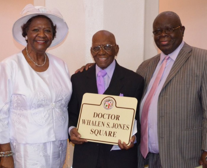 Dr. Whalen Jones (center) with Mrs. Katie Webb and Deacon Sam Omotosho.