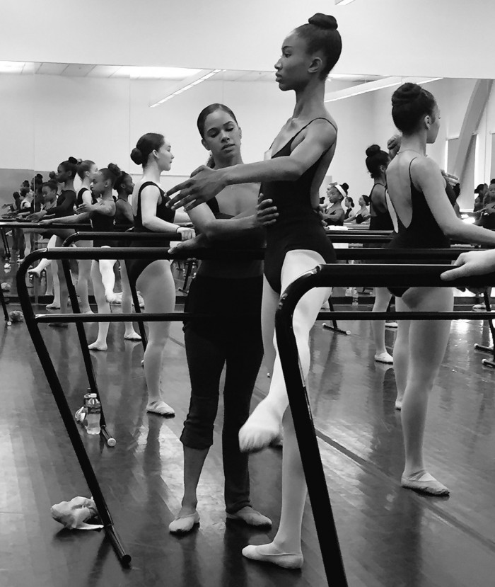 Misty Copeland joins ballet students to teach a Master Class after sit-down discussion with Debbie Allen. (courtesy photo)