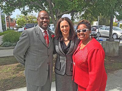 (L-R) Holman UMC Pastor Kelvin Sauls, CA Attorney General Kamala Harris and Rev. Judi Wortham-Sauls. (Jules Green Photo)