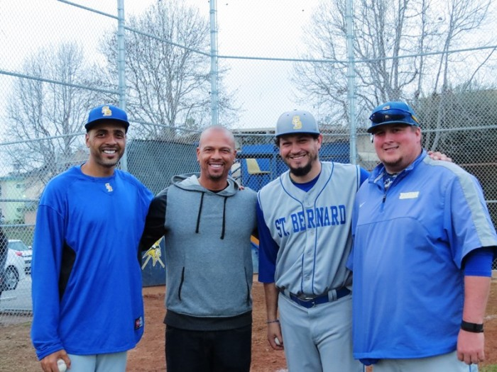 (From left to right) Assistant coach Marvin Horn, Royce Clayton, Abraham Alvarez, and assistant coach John Moe (Courtesy of St. Bernard)