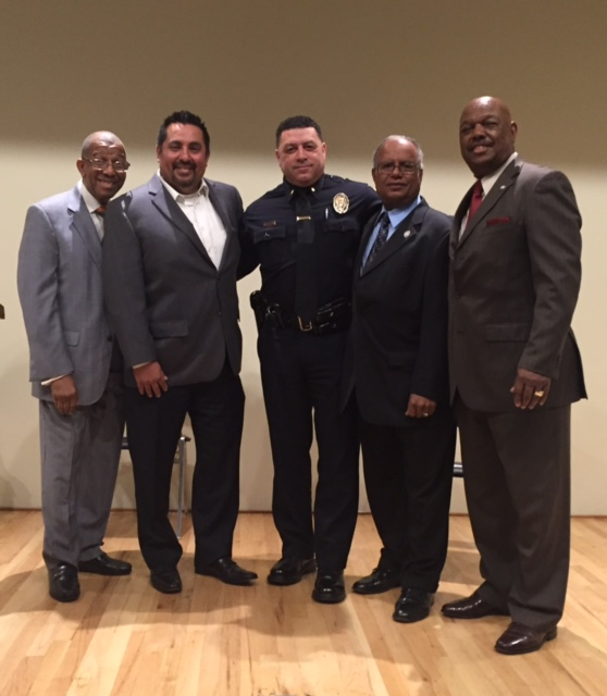 Malcolm N. Bennett, Chairperson, IRPOA and CEO, International Realty & Investments; Councilman Alex Morales; Police Lieutenant Scott Collins; Councilman Ralph Franklin; and Councilman George Dotson.