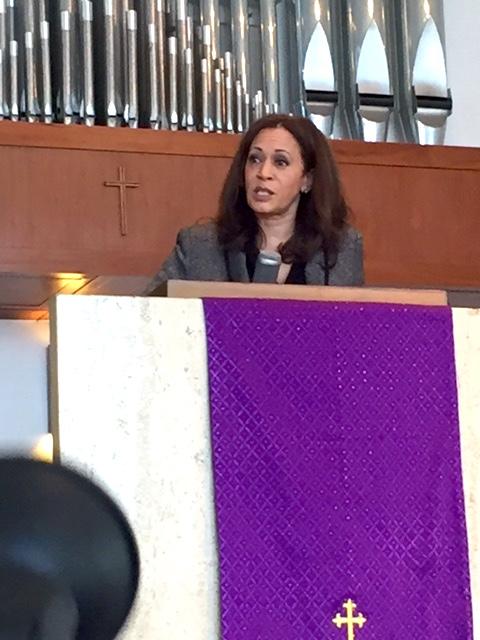 Attorney General Kamala Harris addresses the congregation at Holman United Methodist Church. (Alonzo Neal Photo)