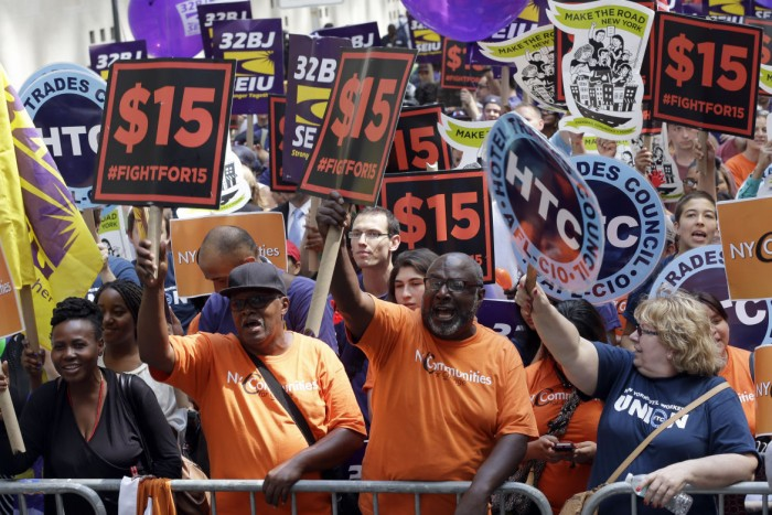 Labor activists, state lawmakers and local leaders, including Los Angeles Mayor Eric Garcetti, on Monday hailed a deal struck with Gov. Jerry Brown and state legislative and labor leaders to raise the statewide minimum wage to $15 per hour by 2022. (courtesy photo)