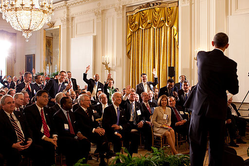 President Barack Obama participates in a Q&A session during the U.S Conference of Mayors meeting in the East Room of the White House, Jan. 21, 2010. (Official White House Photo by Pete Souza)