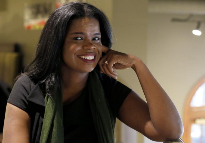 Kim Foxx poses for a portrait before an interview with The Associated Press, two days after her primary win over incumbent Democratic Cook County State's Attorney Anita Alvarez, Thursday, March 17, 2016, in Chicago. (AP Photo/Charles Rex Arbogast)
