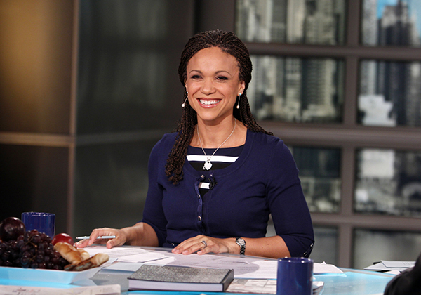 FILE - In this Feb. 18, 2012, file photo, provided by MSNBC, Melissa Harris-Perry appears on the set of her self-titled show in New York. Melissa Harris-Perry and MSNBC are going their separate ways. A network spokeswoman confirmed to The Associated Press on Sunday, Feb. 28, 2016, that Harris-Perry will not be returning to the show she has hosted since 2012. Harris-Perry had refused to appear over the weekend in protest of her show's pre-emption for most of February. Instead, MSNBC devoted the time to heavier coverage of presidential politics. (Heidi Gutman/MSNBC via AP, File)