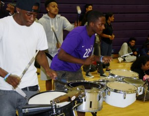 The Woodcraft Rangers drumline at Manual Arts High School gave an incredible performance energizing the crowd