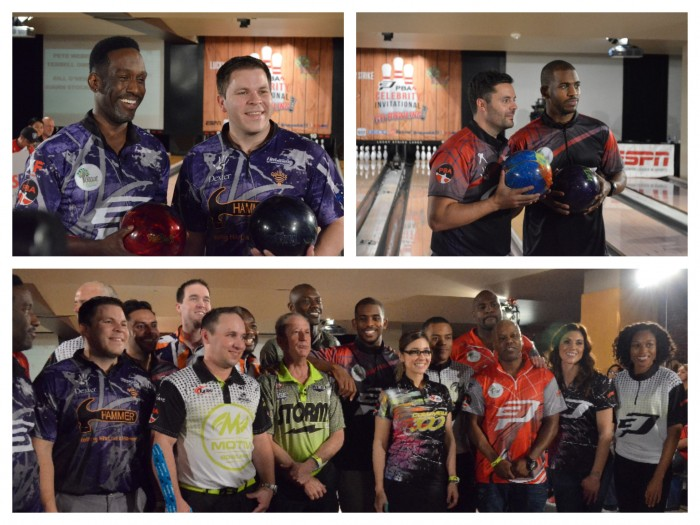 Celebrities pose with the professional bowlers at the CP3 Celebrity Invitational (Amanda Scurlock/ LA Sentinel)