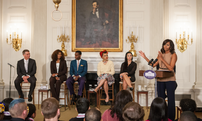"On Wednesday, February 24, in the State Dining Room of the White House, First Lady Michelle Obama speaks to students at the student workshop: ""The Musical Legacy of Ray Charles.""With special guests: (l-r), Robert Santelli, Yolanda Adams, Leon Bridges, Andra Day, and Demi Lovato behind her. 