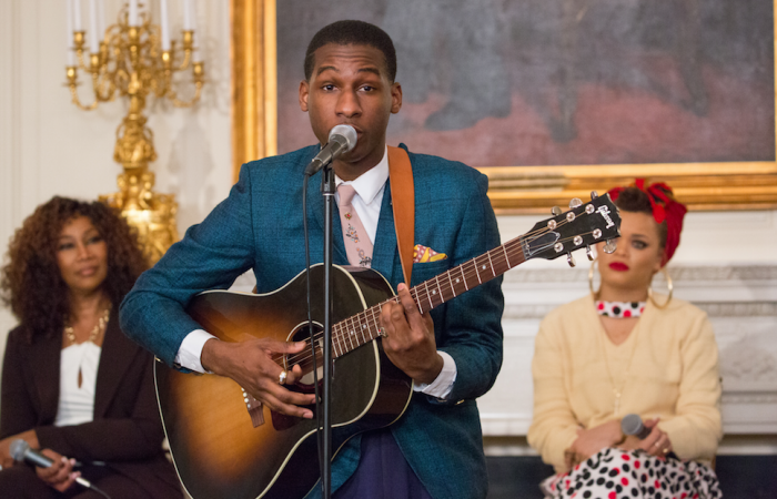 "On Wednesday, February 24, in the State Dining Room of the White House, Leon Bridges performs at the student workshop: ""The Musical Legacy of Ray Charles."" 