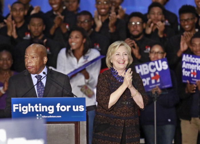 "Oct. 30, 2015 - Atlanta - Congressman John Lewis introduces Hillary Clinton.  Democratic presidential candidate Hillary Clinton launched ""African Americans for Hillary"" at a grassroots organizing event at Clark Atlanta University.  BOB ANDRES  / BANDRES@AJC.COM"