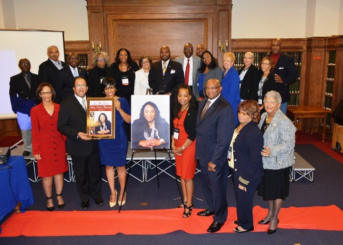 Family, friends and more than a dozen NNPA members and staffers joined Chida Warren-Darby, the co-publisher of The San Diego Voice and Viewpoint (1st row, 3rd from left), for the enshrinement ceremony dedicated to her mother and former publisher, the late Gerri Warren at Howard University in Washington, D.C. during the 2016 Black Press Week. (Roy Lewis/NNPA)