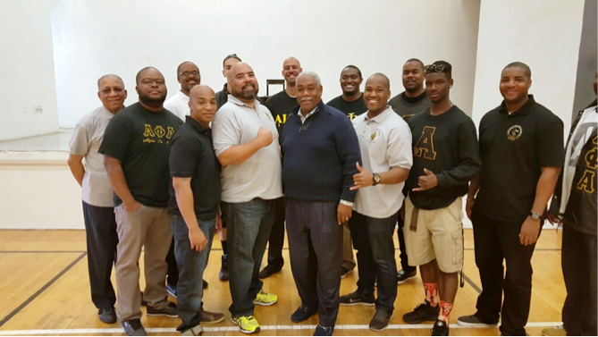 Tony Wafford (center) with Members of Alpha Phi Alpha Fraternity. (Dennis Wafford photo)