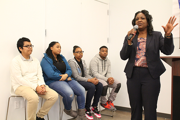 Michelle King addressed the Town Hall audience (Community Coalition)