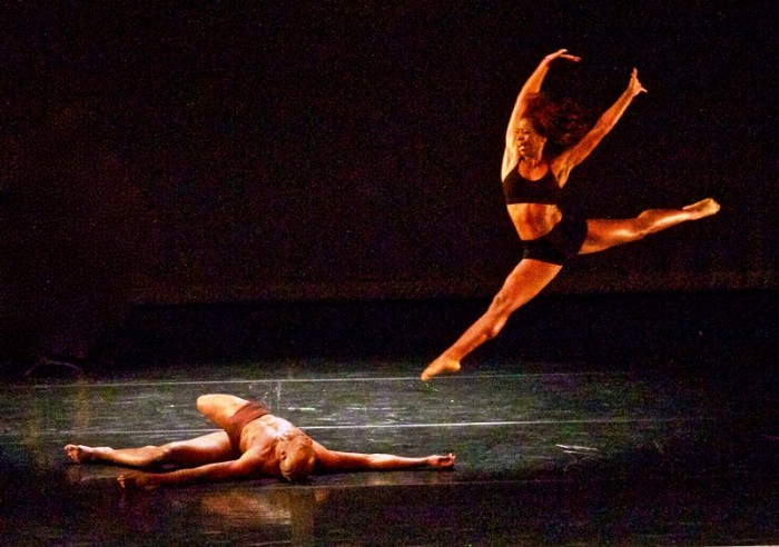 Tehran Dixon leaps over a slain Christopher Frazier in Lula Washington Dance Theatre's Search For Humanism. The work, choreographed by Lula Washington, was part of a shared concert with Pony Box Dance Theatre on Saturday, April 2, at Nate Holden Performing Arts Center. (Photo by E. Mesiyah McGinnis for the L.A. Sentinel)