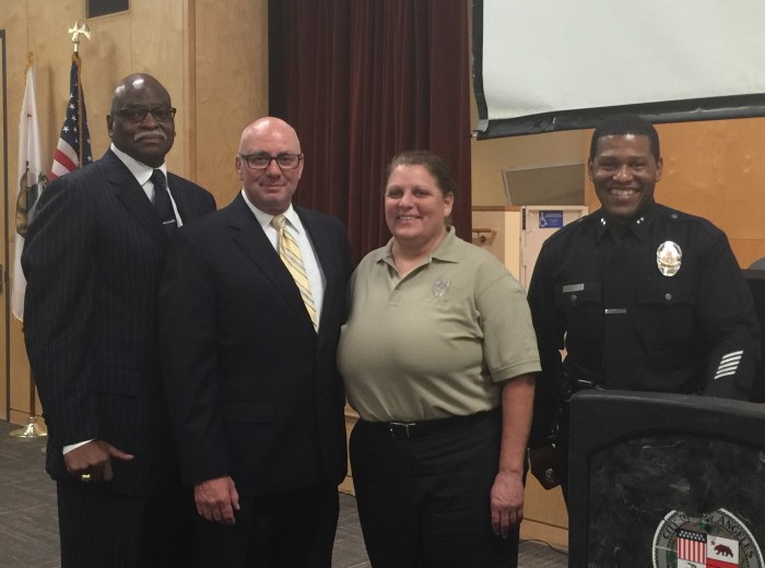 (L-R) Retired Lieutenant Andre Dawson with the Operations South Bureau Human Trafficking Task Force; Sergeant Brian Gallagher of the Operations Bureau Human Trafficking Task Force; Lieutenant Andrea Grossman of the Internet Crimes Against Children Task Force and Bill Scott, Deputy Chief of South Bureau.