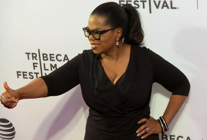 """In this image made from a video, Oprah Winfrey attends """"Greenleaf"""" premiere at Tribeca Film Festival, Wednesday, April 20, 2016, in New York. Winfrey said that she was ecstatic that Harriet Tubman's portrait would replace Andrew Johnson on the $20 bill. Tubman will become the first African-American on U.S. paper money and the first woman to be depicted on currency in 100 years. (AP Photo)"""