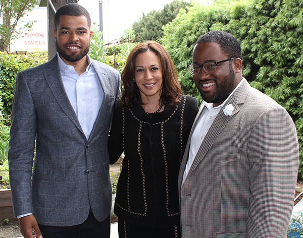 Assemblymember Sebastian Ridley-Thomas (right) said he's been supporting Harris since her first campaign for Attorney General in 2009. Ridley-Thomas joined other Los Angeles-area African American leaders at a reception to support California Attorney General Kamala Harris' U.S. Senate campaign on Sunday April 10, in Baldwin Hills.