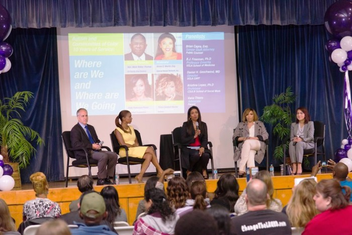 (From Left -to-Right): Neurologist Dr. Daniel Geschwind, MD, actress and autism advocate, Holly Robinson Peete, Special Needs Network president, Areva Martin, actress and autism advocate, Tisha Campbell-Martin and Dr. Kristina Lopez, Ph.D held a panel on special needs at the 10th annual Tools for Transformation conference. Courtesy Photo